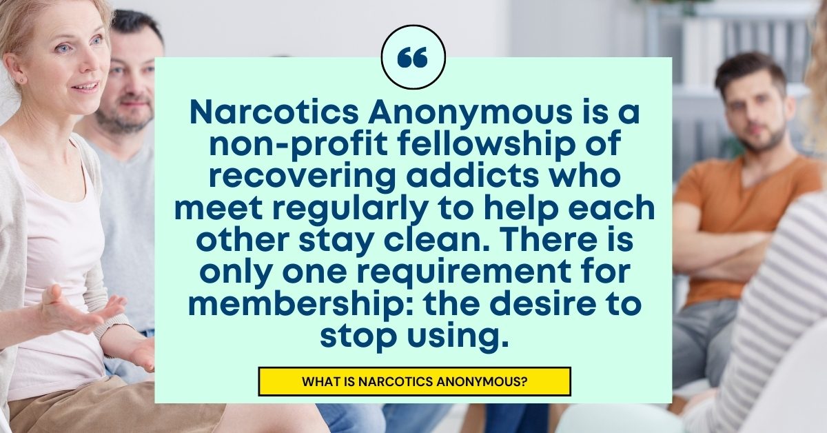 Quote text: Narcotics Anonymous is a non-profit fellowship of recovering addicts who meet regularly to help each other stay clean.  There is only one requirement for membership: the desire to stop using.