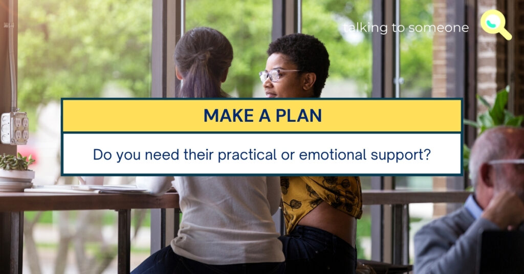 """TEXT for """"Guide to having the conversation"""": MAKE A PLAN. Do you need their practical or emotional support?"""