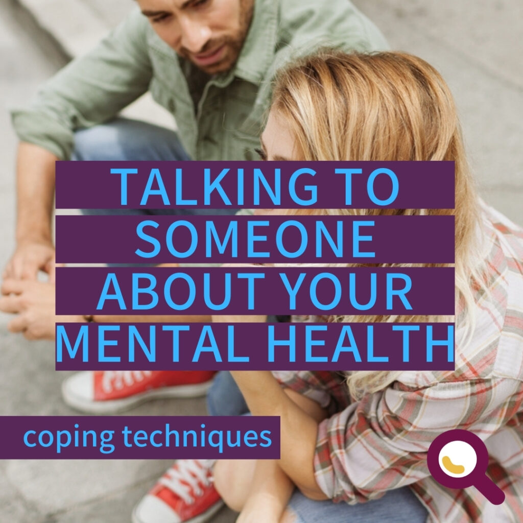 """TEXT for """"Talking to someone about your mental health"""": Talking to someone about your mental health. Image: Two people talking."""